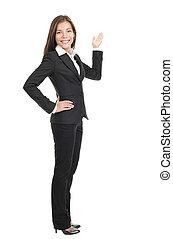 mujer de negocios, actuación, espacio de copia