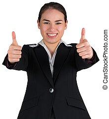 mujer de negocios, actuación, feliz, arriba, pulgares
