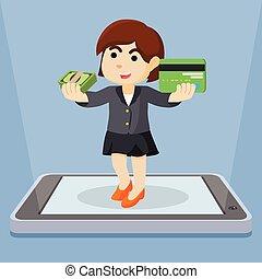 mujer de negocios, actuación, móvil, paymen