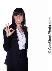mujer de negocios, actuación, signo bueno
