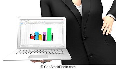 mujer de negocios, actuación, un, computador portatil, con, un, hoja de cálculo, aplicación