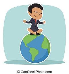 mujer de negocios, africano, meditar, tierra