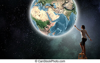 mujer de negocios, alcanzar, tierra, planeta