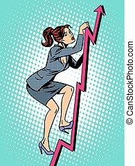 mujer de negocios, alpinista, ventas, horario
