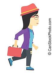 mujer de negocios, ambulante, con, briefcase.