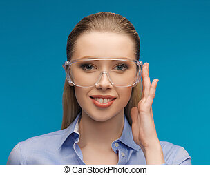 mujer de negocios, anteojos protectores