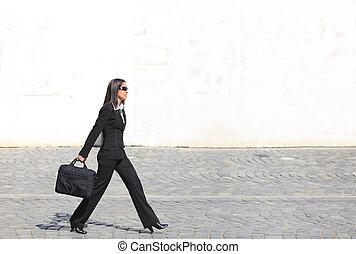 mujer de negocios, apurado