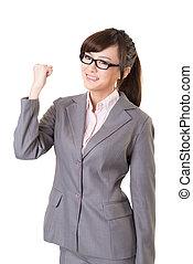 mujer de negocios, asiático, emocionante, joven