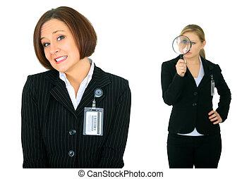 mujer de negocios, asustado, reloj, debajo