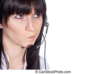 mujer de negocios, auriculares