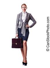 mujer de negocios, blanco, maletín