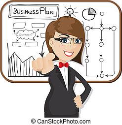 mujer de negocios, caricatura, plan trabajo empresa