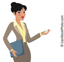 mujer de negocios, caricatura, presentaciones, elaboración
