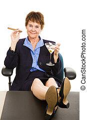 mujer de negocios, celebrar, éxito