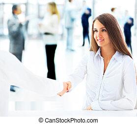 mujer de negocios, cliente
