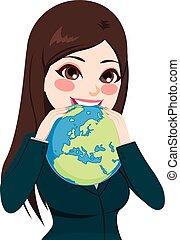 mujer de negocios, comida, mundo