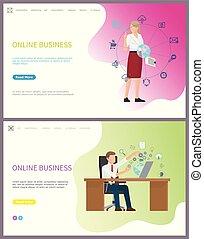 mujer de negocios, compañía, globo, empresa / negocio, en línea