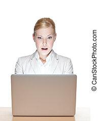 mujer de negocios, computador portatil, tabla, joven, sentado