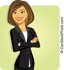 mujer de negocios, con, brazos doblados