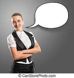 mujer de negocios, con, burbuja del discurso