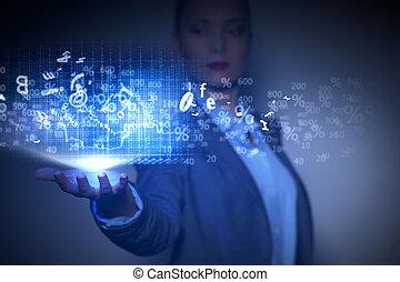 mujer de negocios, con, financiero, símbolos, alrededor