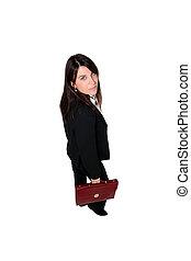 mujer de negocios, con, maletín