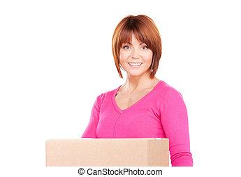 mujer de negocios, con, paquete