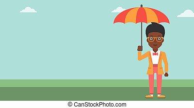mujer de negocios, con, paraguas, vector, illustration.