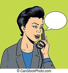 mujer de negocios, con, teléfono, vector