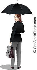 mujer de negocios, con, umbrella., vector, ilustración