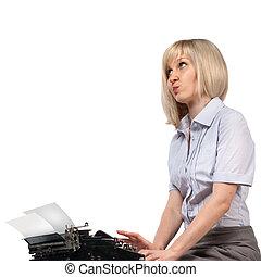 mujer de negocios, con, vendimia, mecanografía, máquina, blanco