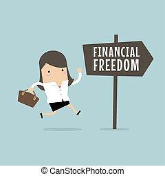 mujer de negocios, concept., freedom., financiero, empresa / negocio