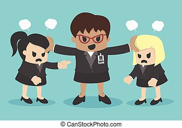 mujer de negocios, conflicto, o, discusión, compañero de...