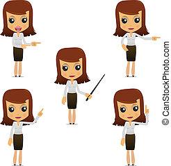 mujer de negocios, conjunto, caricatura, divertido