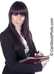 mujer de negocios, cuaderno, elaboración