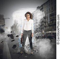 mujer de negocios, determinado, fuerte
