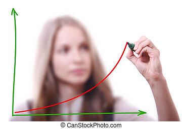 mujer de negocios, dibujo, tabla de crecimiento