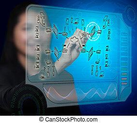 mujer de negocios, dibujo, un, seguridad, plan, para, un, cortafuegos, sistema