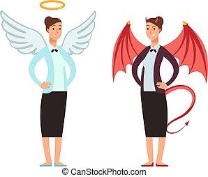 mujer de negocios, en, ángel, y, diablo, suit., bueno y malo, mujer, vector, caricatura, carácter
