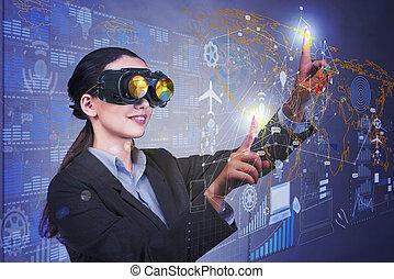 mujer de negocios, en, datos, minería, concepto