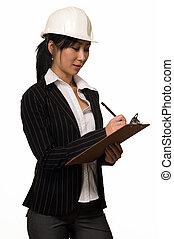 mujer de negocios, en, sombrero duro