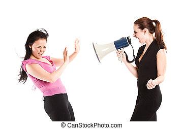 mujer de negocios, enojado, gritos