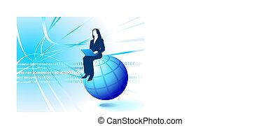 mujer de negocios, equitación, internet