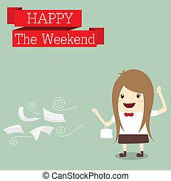 mujer de negocios, es, ir, a, compras, feliz, fin semana,...