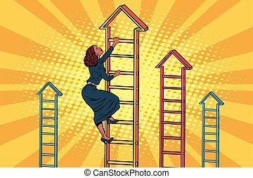 mujer de negocios, escalera, arriba, empresa / negocio, montañismo