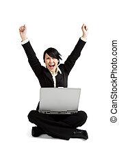 mujer de negocios, excitado