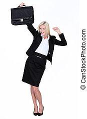 mujer de negocios, excitado, maletín