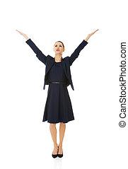 mujer de negocios, feliz