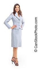 mujer de negocios, feliz, joven, aislado, blanco