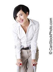 mujer de negocios, feliz, joven, muletas